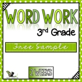 Third Grade Word Work Activities Whole Year - Free Sample