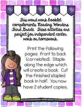 Third Grade Word Work Booklet: Reading Wonders Unit 1