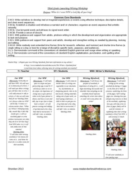 Third Grade Writer's Workshop Launching Unit of Study