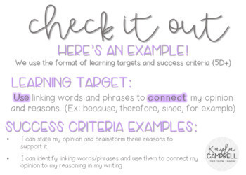 Third Grade Writing Learning Targets