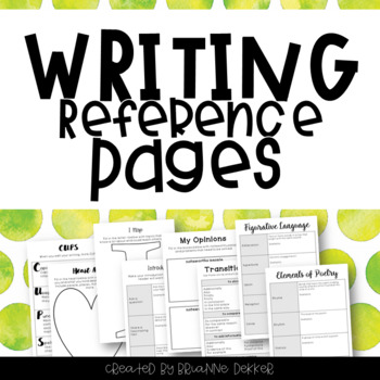 Third Grade Writing Notebook Reference Pages