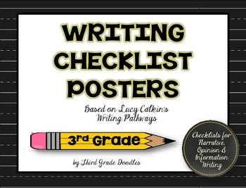 Third Grade CCSS Writing Pathways Checklist Posters -- 30 Poster Set!