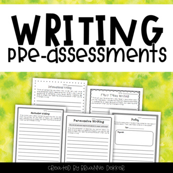 Third Grade Writing Pre-Assessments