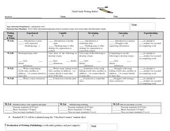 Third Grade Writing Rubrics for Common Core