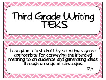 Third Grade Writing TEKS~ Pink Chevron