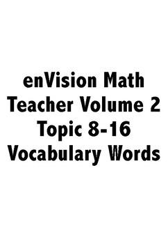 Third Grade: enVision Math 2.0 Volume 2 Vocabulary Cards