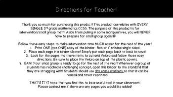 "Third Grade mathematics ""I Can"" Binder"