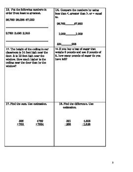 Third Grade mid-year math assessment