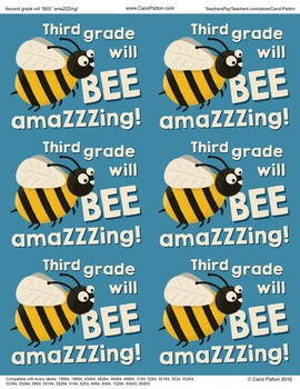 Third grade will be amazing! - Goodie bag labels - Back to school - End of Year