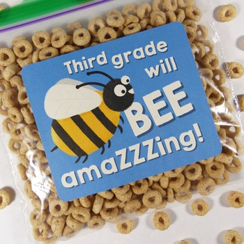 """""""Third grade will be amazing!"""" - Goodie bag labels for bac"""
