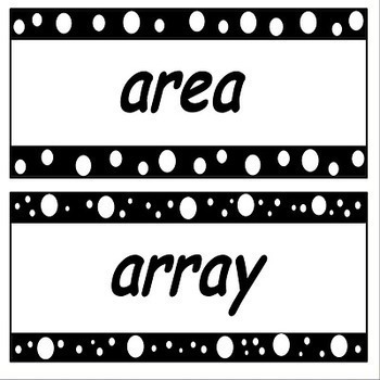 Math Word Wall Cards for 3rd and 4th Grade