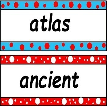 Social Studies Word Wall Cards for 3rd and 4th Grade