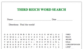 Third Reich word search