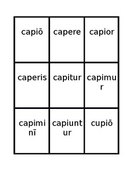 Third conjugation -io Present passive Latin verbs Spoons game / Uno game
