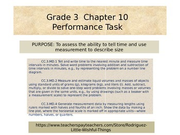 Third grade  Chapter 10   Math Performance Task