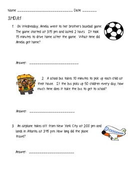 Third grade Common Core Time and Measurement review