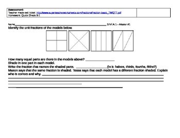 Third grade Pearson enVision Fraction Complete Lessons 3.NF.1