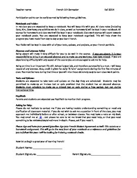 Third year French policies and procedures / syllabus / student parent agreement