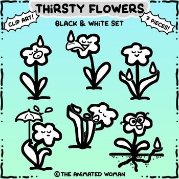 Thirsty Flowers Clip Art Black & White Set