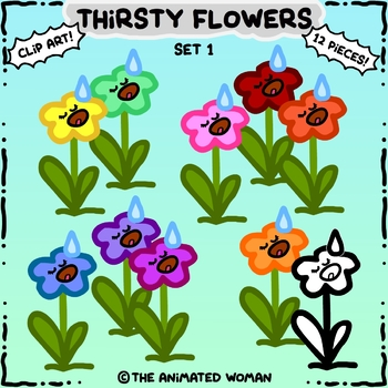 Thirsty Flowers Clip Art Set 1