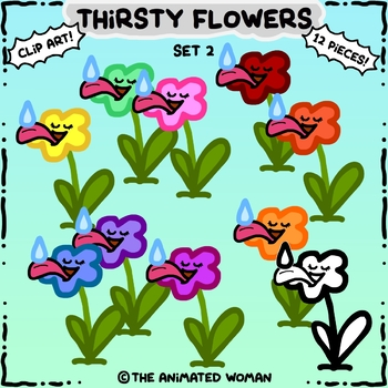 Thirsty Flowers Clip Art Set 2