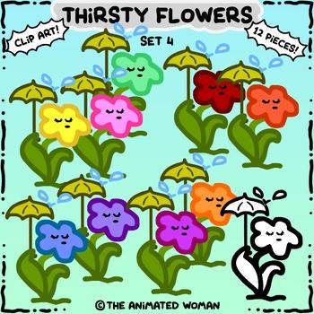 Thirsty Flowers Clip Art Set 4