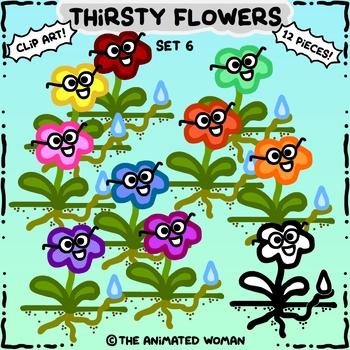 Thirsty Flowers Clip Art Set 6