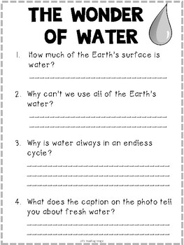Thirsty Planet Literacy Activities for the Louisiana K-2 Guidebook