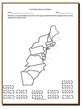 Thirteen Colonies Bundle- 1 Cut & Paste, 1 Word Search & 1 Word Scramble
