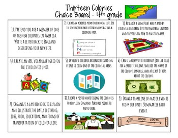Thirteen Colonies Choice Board Activities