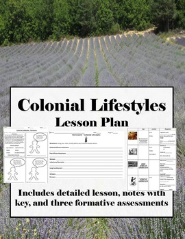 Thirteen Colonies - Colonial Lifestyles Lesson, Worksheets