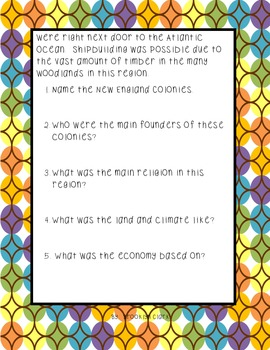 Thirteen Colonies Comprehension Packet