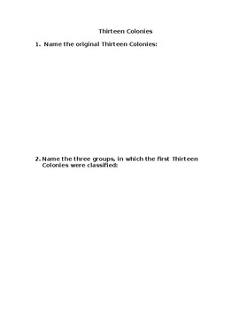 Thirteen Colonies Comprehension Questions