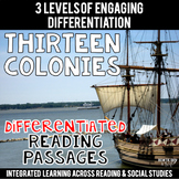 13 Colonies Passages Differentiated Close Reading Texts for Colonial America