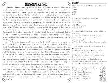 Benedict Arnold Differentiated Close Reading Passages & Questions