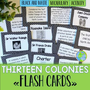 Thirteen Colonies Flash Cards - Black and White Papers