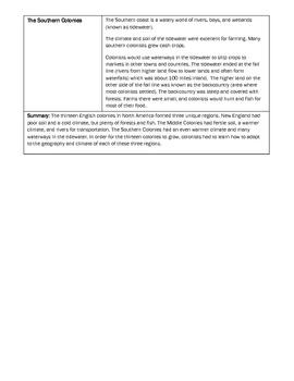 Thirteen Colonies (Houghton Mifflin) Unit