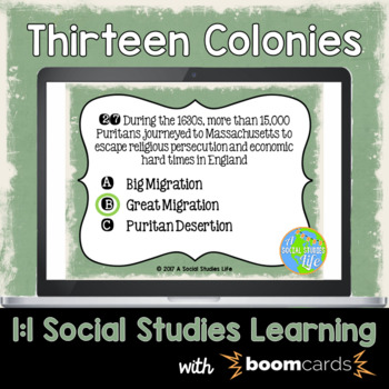 Thirteen Colonies Interactive Task Cards