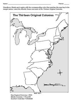 Thirteen Colonies Map Activity