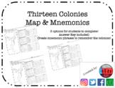 Thirteen Colonies Map & Mnemonics (13 Colonies)