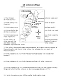 Thirteen Colonies Map and Questions Review Worksheet