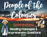 13 Colonies and People of the Colonies passages about Colonial Americans