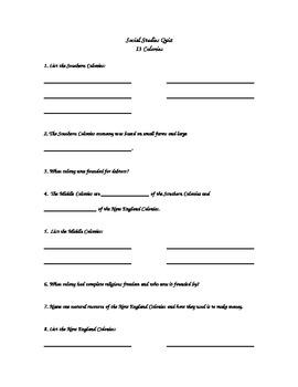 Thirteen Colonies Quiz