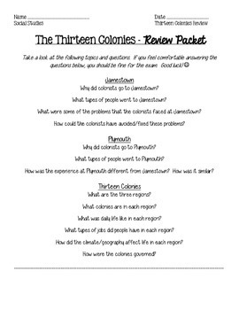Thirteen Colonies Review Packet