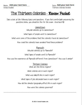 Thirteen Colonies Review Packet