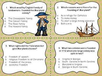 Thirteen Colonies: Southern Colonies Task Card Freebie