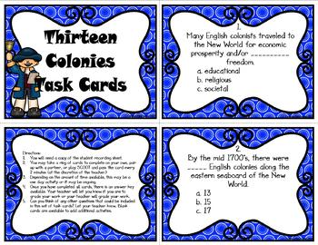 British Colonial America Task Cards