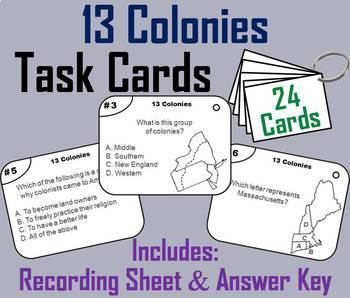 Thirteen Colonies Task Cards and Activities Bundle