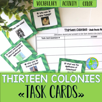 Thirteen Colonies Task Cards and Recording Sheet
