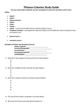 Thirteen Colonies Unit Study Guide and Test